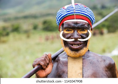 Baliem Valley / West Papua, Indonesia - August 9th, 2016: Dani tribes person at the Baliem Valley Festival.