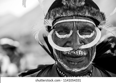 Baliem Valley / West Papua, Indonesia - August 10th, 2016: Dani tribes person at the Baliem Valley Festival.