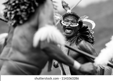Baliem Valley / West Papua, Indonesia - August 9th, 2016: Dani tribes people at the Baliem Valley Festival.