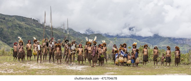 Baliem Valley, West Papua, Indonesia, February 15th, 2016: Dani tribe people of Ugem Village