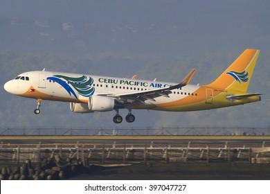 Bali/Indonesia Februar 19, 2013: Airbus A320 Cebu Pacific takeoff at Bali Airport.