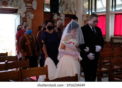 Bali,Indonesia-October 15.2020 : marriage in Bali during the COVID-19 pandemic