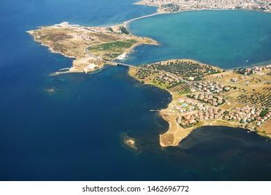Balikesir Ayvalik cunda Alibey island aerial view.