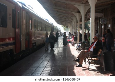 BALIKESIR, TURKEY - 15 October 2010. A day in the train station in Balikesir.