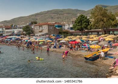 BALIKESIR, TURKEY - AUGUST 22, 2019: Altinoluk City is popular destination for sea holiday.