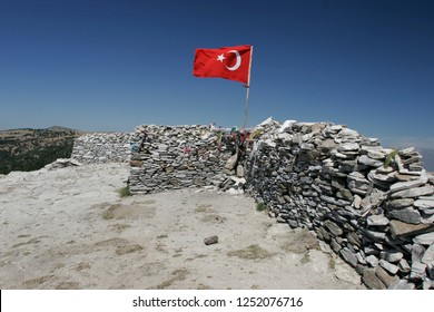 BALIKESIR, TURKEY- August ,28  2005 : The place where is located the tomb of sarikiz and today is Sarikiz Hill . Sarikiz holy place in mount ida of Edremit town at Balikesir, Turkey