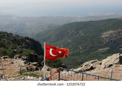 BALIKESIR, TURKEY- August ,28  2005 : The place where is located the tomb of sarikiz and today is Sarikiz Hill .Landscape from mount ida of Edremit town at Balikesir, Turkey