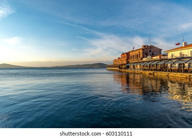 BALIKESIR, TURKEY - January 30 2017: Sunset at Ayvalik historical pier