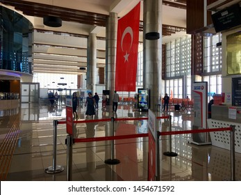 BALIKESIR, TURKEY - JULY 17 2019:Edremit koca Seyit International airport Inside view.Previously known as Balikesir Edremit Korfez Airport.The name was changed to Balikesir Koca Seyit Airport in 2012