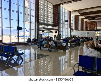 BALIKESIR, TURKEY - JULY 6 2018: Interior view Edremit koca Seyit International airport. Previously known as Balikesir Edremit Korfez Airport.The name was changed to Balikesir Koca Seyit Airport 2012