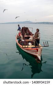 Balikesir, Turkey; March 10, 2007; Turkish fishermen on boat, Aegean Sea, Turkey