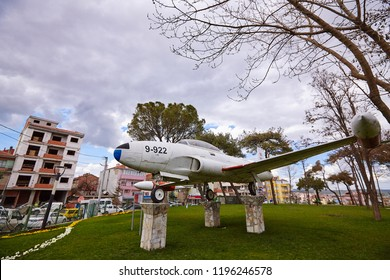 Balikesir / Turkey - March 28 2015: City park in Balikesir, Turkey with T-33 plane instalation