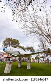 Balikesir / Turkey - March 28 2015: City park in Balikesir, Turkey with T-33 plane instalation