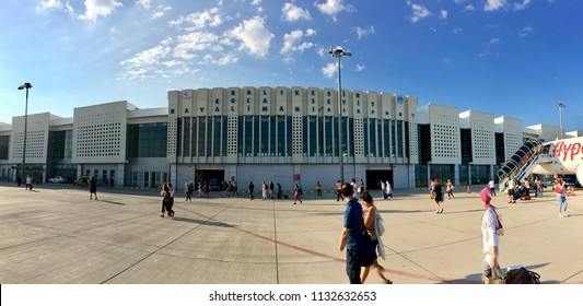 BALIKESIR, TURKEY - MAY 27 2016: Edremit koca Seyit International airport apron view. Previously known as Balikesir Edremit Korfez Airport.The name was changed to Balikesir Koca Seyit Airport in 2012