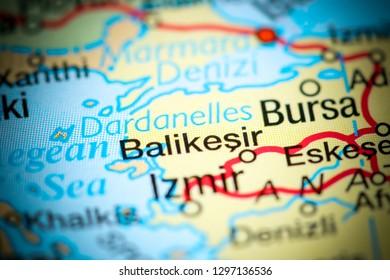 Balikesir, Turkey on a map