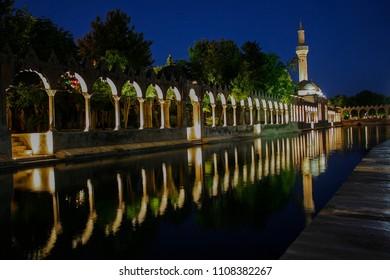 Balikli Gol - Fish Lake. Historical place. Urfa - Turkey. Night reflection of the Balikli Gol (Holy Pool of Prophet Abraham),  Mosque of Halil-ur-Rahman