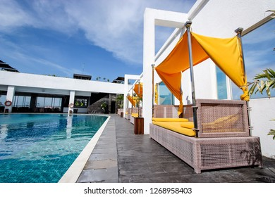 Balikpapan, Indonesia - 14th February 2014: Sunbed or Sun Lounger on the Pool Side