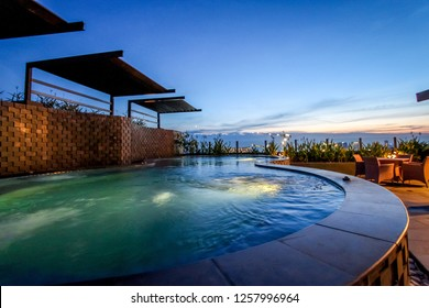 Balikpapan, Indonesia - 21st February 2014: A Luxurious Hotel Swimming Pool in the Evening
