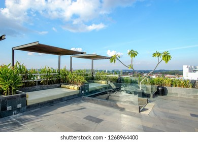 Balikpapan, Indonesia - 21st February 2014: Sunbed or Sun Lounger on the Pool Side