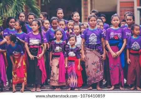 Balinese Dancing Traditional Dance Clothing Kecamatan Stock Photo