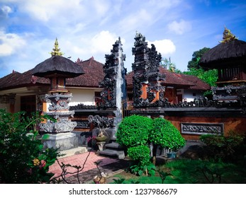 Balinese Family House Temple At The Front Of The House At Badung, Bali, Indonesia