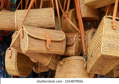 Balinese handmade rattan eco bags in a local souvenir market in Bali, Indonesia
