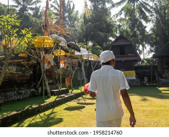 Balinese High Priest on his way to prepare the sacred Galungan ceremony at Kedewatan Village Ubud Bali Indonesia