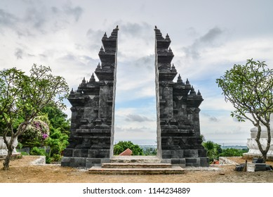 Balinese Hindu gates in Budhist temple Brahma Vihara-Arama Banjar in Lovina, Indonesia, Bali.
