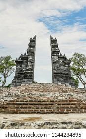 "Balinese Hindu gates in Budhist temple Brahma Vihara-Arama Banjar in Lovina, Indonesia, Bali, it""s a small version of Borobudur temple on Java."