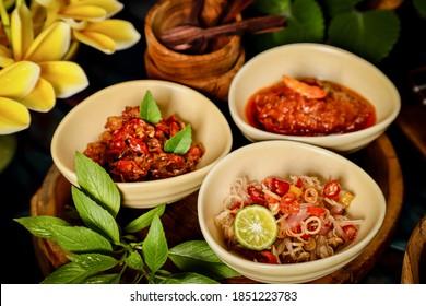 Balinese Sambal. Three Balinese spicy condiments of Sambal Plecing, Sambal Embe and Sambal Matah.