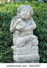 Balinese stone sculpture in Spa garden