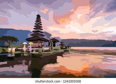 balinese temple bali wallpaper background hd painting simple