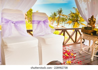 balinese wedding ceremony with palm background
