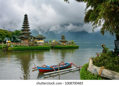 Bali's main landmark - Pura Ulun Danu temple on lake Bratan, Bali, Indonesia
