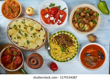 Balkan cuisine cuisine, Traditional assorted dishes, Top view.