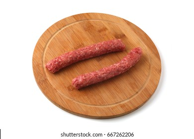 Balkan sausages isolated on white background