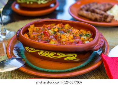 Balkan vegetable stew served in a traditional food clay dish. Zlatibor, Serbia.