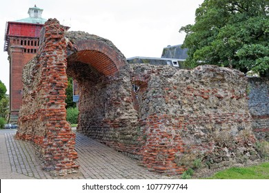 Balkerne Gate,Colchester,UK - a Roman gateway in the town's Roman wall.