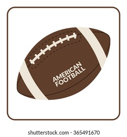 Ball for american football isolated on a white background. Rugby equipment. Symbol of sport, game, competition etc. Flat design. Illustration