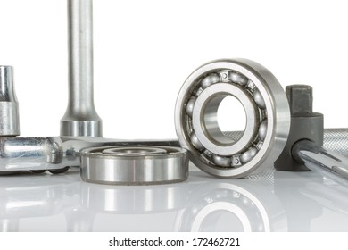 ball bearing with drive socket set , on over white, and reflections