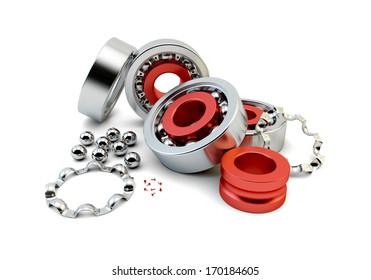 Ball bearing with metallic bearing balls on white background