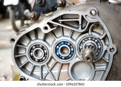 Ball bearing in old motorcycle opened engine