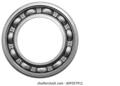 Ball bearing with white space background.Selective focus.