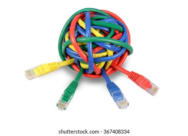 Ball of Brightly Multi Colored Network Cables and Plugs Isolated on White Background. IT issues and solution background image