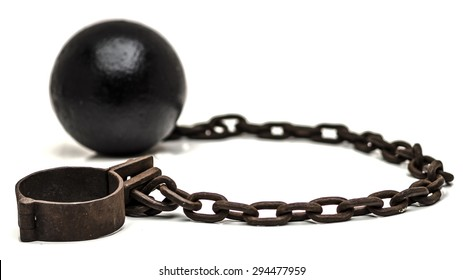 Ball and chain with low depth of field on white background