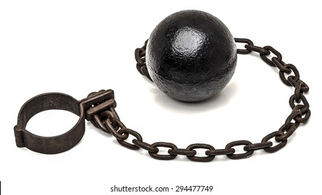 Ball and chain on white background