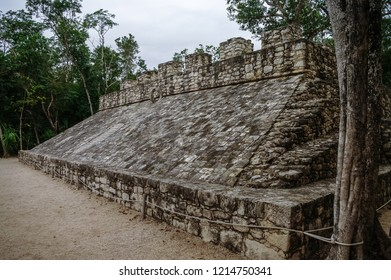 Ball court at the ruins of the Mayan city Coba, Mexico