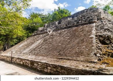 Ball court at the ruins of the Mayan city Coba, Mexico