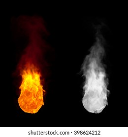 Ball of fire with flames burning upwards with alpha channel