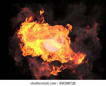 Ball in fire. Sphere in fire. Fire. On fire